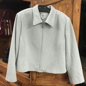 Armani Virgin Wool Blend Crop Zip Jacket Blazer